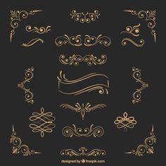 Ornamentos de ouro Vetor grátis