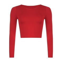 New Womens Crop Long Sleeve T Shirt Ladies Short Plain Round Neck Top... ($0.26) ❤ liked on Polyvore featuring tops, long sleeve tops, crop top, round neck crop top, red top and cut-out crop tops