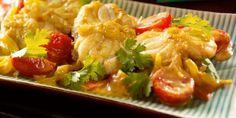 Curry de lotte au lait de coco Lotte Au Curry, Curry D'aubergine, Asian Recipes, Cauliflower, Detox, Stuffed Peppers, Chicken, Vegetables, Healthy