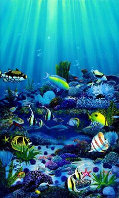 Undersea Ocean Life Paintings - Archive - Thomas Deir Honolulu HI Artist Underwater Wallpaper, Ocean Underwater, Underwater Painting, Ocean Wallpaper, Ocean Art, Sea Life Art, Ocean Life, Sea Turtle Pictures, Hawaii Painting