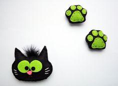 Felted fridge magnet cat black cat cat footprint by IrraNellie, $15.00