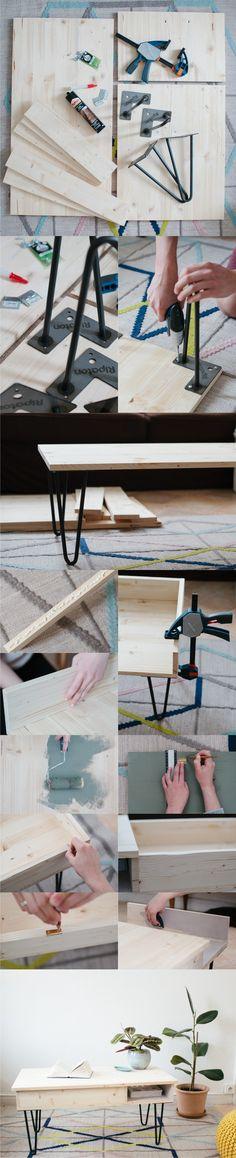 Mesa con pies hairpin - carnetdeprintemps.fr - DIY Hairpin Legs Table