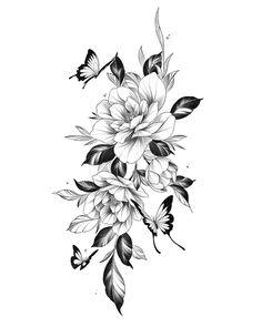 Floral Back Tattoos, Mandala Flower Tattoos, Butterfly Tattoo Designs, Flower Mandala, Mum Tattoo, Arm Band Tattoo, Flower Sleeve, Floral Drawing, Fine Line Tattoos
