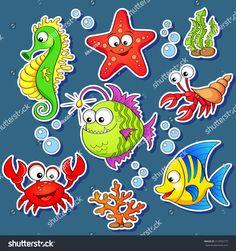 Stickers Of Cute Cartoon Sea Animals