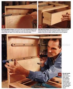DIY Wooden Drawer Slides - Drawer Construction and Techniques - Woodwork, Woodworking, Woodworking Plans, Woodworking Projects Woodworking Plans, Woodworking Projects, Wooden Drawers, Wooden Diy, Dyi, Furniture Ideas, Kitchen Ideas, Diy And Crafts, Garage