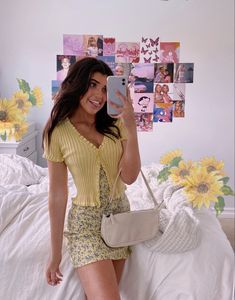 pastel yellow spring outfit sara joy Back To School Outfits joy Outfit pastel sara Spring yellow Indie Outfits, Girly Outfits, Retro Outfits, Cute Casual Outfits, Casual Dresses, Women's Vintage Outfits, Cool Girl Outfits, Yellow Outfits, Yellow Dress