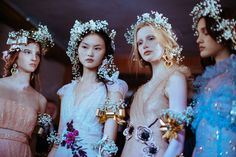 Rodarte's Kate and Laura Mulleavy presented a collection full of floral-wearing princesses – straight out of A Midsummer Night's Dream.