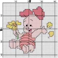 punto croce winnie the pooh Disney Cross Stitch Patterns, Cross Stitch For Kids, Cross Stitch Baby, Cross Stitch Charts, Cross Stitch Designs, Cross Stitching, Cross Stitch Embroidery, Pooh Bebe, Modele Pixel Art