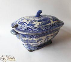 Antieke Copeland Garret Spode aardewerk soepterrine, Blauw Decor Willow, Transfer, Dekselschaal, Zeldzaam, Oud servies, Chinoiserie, Engels,19e eeuw
