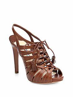 de5614345 Prada - Leather Lace-Up Tassel Sandals