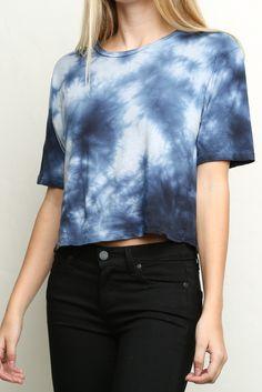Blue Tie-Dye top | Black jeans