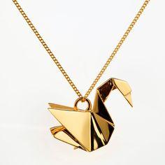 Swan gold, Origami Jewelry