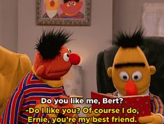 """""""I always felt that, without a huge agenda, when I was writing Bert and Ernie, they were [gay],"""" Mark said. """"I didn't have any other way to contextualize them.I don't think I'd know how else to write them but as a loving couple. My Best Friend, Best Friends, Sesame Street Muppets, Bert & Ernie, Couples Comics, Gifs, Ensemble Cast, Jim Henson, Kids Tv"""