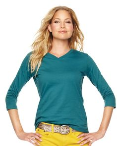 LAT Sportswear LAT- Womens Fashion- V-Neck- 3/4 Sleeve Tee Top- 100% Cotton -3577 at ShirtSupplier.com