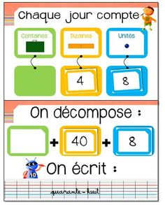 Rituel chaque jour compte 2nd Grade Math, Second Grade, Grade 2, First Day Of School, Back To School, Teaching French, Anchor Charts, Math Lessons, Math Centers