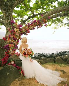 Florals adorning the tree- wedding bouquet-- absolute bridal perfection -- Anna Kim Photography