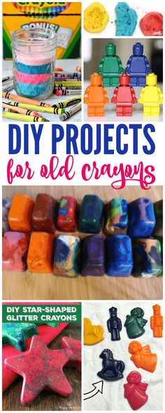 How to make old crayons new again! DIY Projects for old crayons! Great activity for kids and also makes a fun gift idea! The perfect tutorial for crayons! Old Crayon Crafts, Melted Crayon Crafts, Crayon Art, Crafts To Do, Easy Crafts, Arts And Crafts, Melted Crayons, Crayon Melting, Kids Crafts