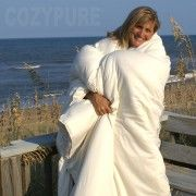CozyPure® Organic Wool Comforter Dust mite resistant, temp regulating.  Wool batting made to maximize uniform distribution of the wool batting, reducing bare spots or lumpiness often found in wool batting. Contained in 100% organic cotton sateen.  Use a duvet cover to protect from body oil, stains.  5 year warranty!  Made in USA