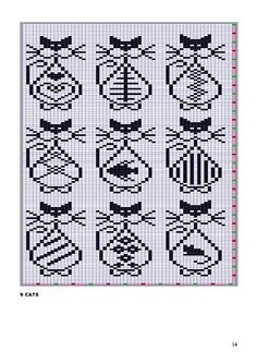 x stitch cats Knitting Charts, Knitting Stitches, Knitting Patterns, Crochet Patterns, Loom Patterns, Loom Beading, Beading Patterns, Embroidery Patterns, Chat Crochet