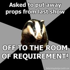Asked to put away props from last show - OFF TO THE ROOM OF REQUIREMENT! Backstage Badger