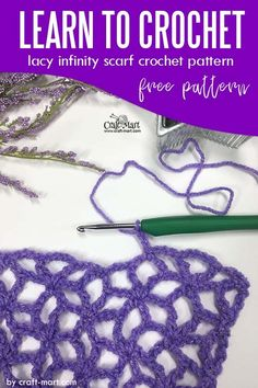 Learn to crochet lacy spring-time infinity scarf with our FREE PATTERN and step-by-step tutorial; easy repeat makes this lacy pattern very easy to learn Learn To Crochet, Diy Crochet, Crochet Crafts, Crochet Hooks, Crochet Projects, Diy Projects, Crochet Infinity Scarf Free Pattern, Basic Crochet Stitches, Crochet Basics