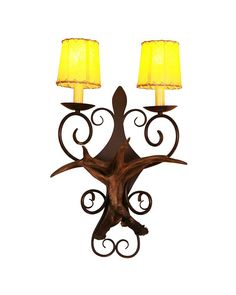 Deer Shaped Iron Base 2 Candle Lights Wall Sonces