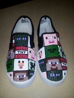 Minecraft shoes on Etsy! Minecraft Shoes, Minecraft Outfits, All Minecraft, Minecraft Clothes, Minecraft Birthday Party, Hand Painted Shoes, Custom Shoes, Gifts For Boys, Creative Gifts