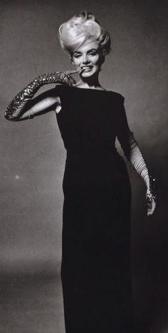 Marilyn. Black Dress and Glitter Gloves Sitting. Photo by Bert Stern, 1962.