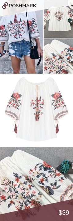 NEW Gorgeous Embroidered Off Shoulder Boho Top Bring out your inner boho with this super cute Floral embroidery top! Available in sizes S M L. Boutique, no tags attached Tops Blouses