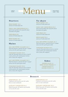 Easy to edit, customizable restaurant templates and a full suite of tools you can use online. Menu Restaurant, Hotel Menu, Restaurant Identity, Restaurant Menu Template, Restaurant Design, Menue Design, Menu Card Design, Food Menu Design, Stationery Design