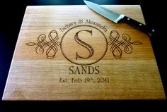 Personalized Cutting Board - Custom Engraved - 12 x 15 White Oak - Personalized Wedding Gift, Anniversary Gift, Housewarming. $39.00, via Etsy.