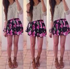 Cute•Girls•Floral•Skirt•Teen•Outfit•Ideas•Fun Cute Outfit Ideas