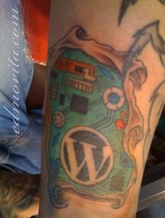 I don't want the wordpress logo, but I want to incorporate all of my scholastic logos into a circuit board. Tech Tattoo, Nerd Tattoos, Tattoo Inspiration, Wordpress, Circuit Board, Color, Awesome, Colour, Colors