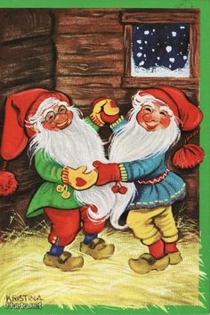 gnomes dancing by Kristina Norwegian Christmas, Humanoid Creatures, Elves And Fairies, Legendary Creature, Red Hats, Old Postcards, Vintage Pictures, Yule, Gnomes