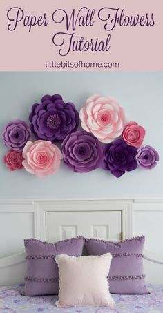 Paper Wall Flowers Tutorial paper flowers for wall Paper Wall Flowers Tutorial Big Paper Flowers, Paper Flower Wall, Paper Flower Backdrop, Flower Wall Decor, Paper Roses, Paper Flowers Wall Decor, How To Make Flowers Out Of Paper, Hanging Paper Decorations, Hanging Paper Flowers