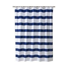 Give your bathroom a fresh and casual update with the Rugby Stripe Shower Curtain from Room Essentials™. Bold blue-and-white stripes cover this cotton-poly shower curtain for a clean look that is sure to be at home in any bathroom.