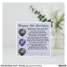 Shop Birthday Card - Brother created by Lastminutehero. Happy Birthday 18th, 18th Birthday Cards, You Mean The World To Me, Detail Shop, Gifts For Brother, Custom Greeting Cards, Holiday Photos, Thoughtful Gifts, Paper Texture
