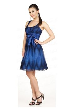 Dark Blue Knee-length Sashes/Ribbons Sleeveless Homecoming Dress HD160A