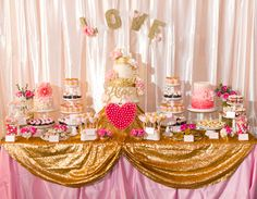 Happy #nationalpinkday!  Pink and gold wedding dessert table by Sweet E's Bake Shop.