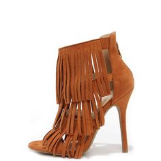 Gypsy Queen Whisky Suede Fringe Dress Sandals ($28) ❤ liked on Polyvore featuring shoes, sandals, brown, fringe high heel sandals, stiletto sandals, vegan shoes, brown sandals and caged sandals