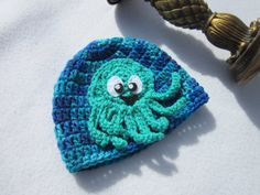 Blue Baby Hat with Octopus Green Octopus on by crochetedbycharlene