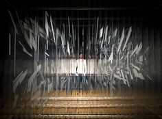 David Spriggs uses a combinations of acrylic paint and transparent plastic sheets to create sculptural installations with images floating within them. Spriggs divides his abstract designs into laye…