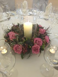 Storm Lantern arrangement with pink Roses from our latest Wedding Fair