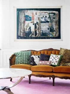 we have a sofa this colour. great use of colour! via little blue deer