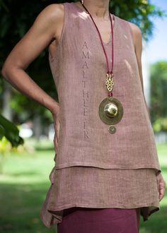 Rosewood linen gauze tunic with raspberry linen sarouel skirt