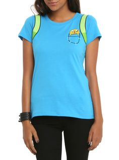 Fitted turquoise tee from Cartoon Network's Adventure Time with Finn character costume design.