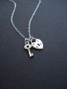 Key And Heart Lock Necklace In Sterling Silver