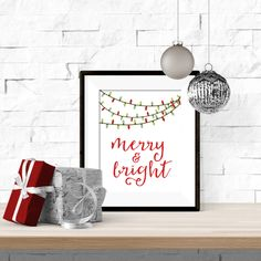 Merry and Bright Christmas Lights Winter Printable Artwork with Free Bonus Printable December Calendar - 8x10 Download by theorangeleaf on Etsy