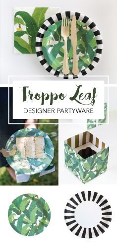 Paper Eskimo Troppo Leaf Designer Partyware. Great for any green party theme idea! Tropical theme | Luau party ideas | Hawaii birthday | Ladybug theme | Partyware available at papereskimo.com