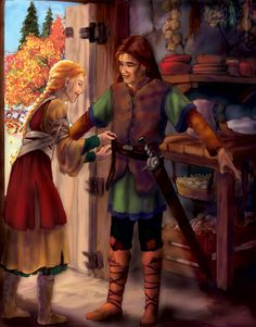Scene where Eilonwy girds on Taran's first sword at the beginning of The Black Cauldron; art by the very talented Dawn Davidson.